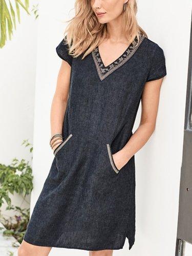 Solid Casual V Neck Linen Dresses