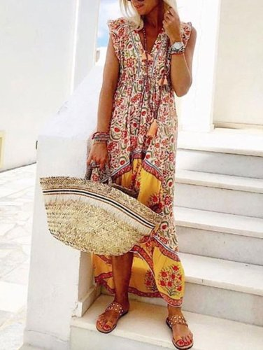 Floral Print High Low Holiday Beach Casual Shift Dress