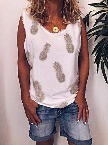 White Summer Casual V-neck Cotton Top