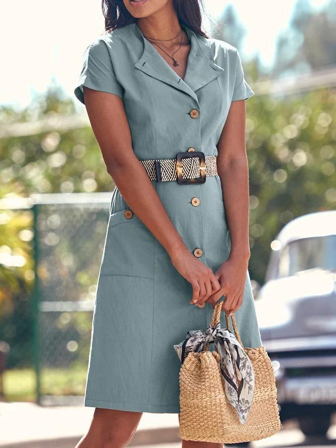 Pockets Mini Dress Plus Size Short Sleeve Dresses
