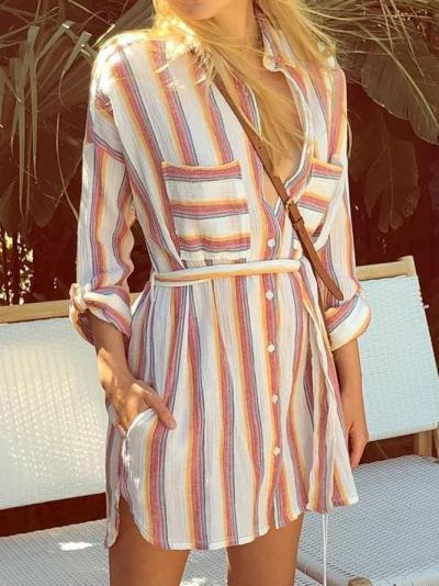 Shirt Collar Orange Women Dresses Holiday Striped Dresses