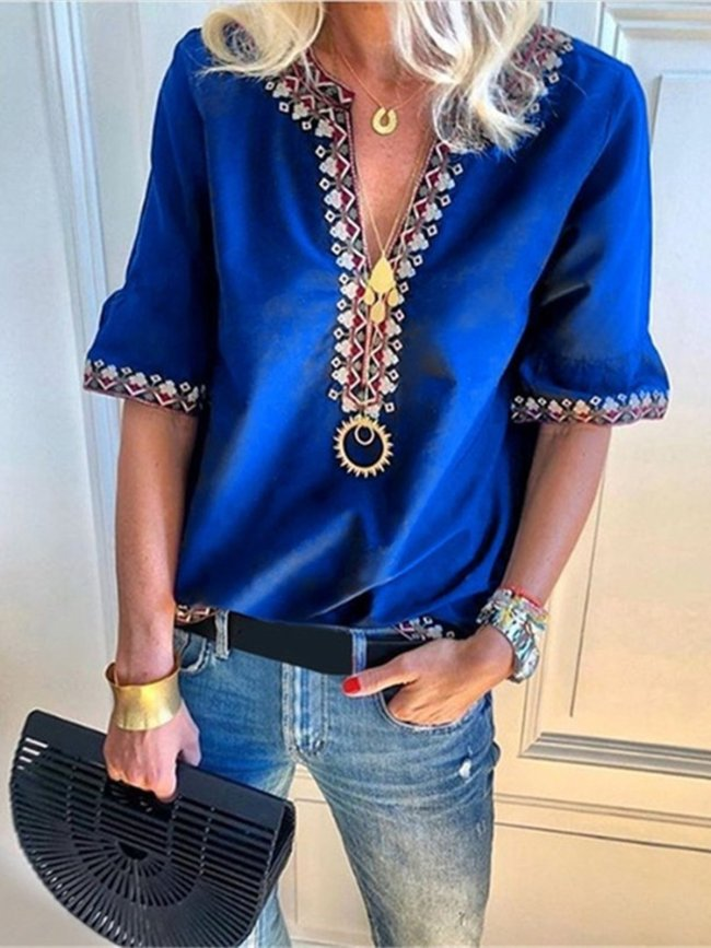 Casual Frill Sleeve Printed V Neck Large Size Blouse