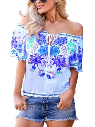 Short Sleeve Printed Off Shoulder Cotton-Blend Shirts & Tops