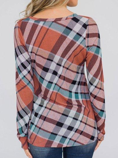 Women Paneled Long Sleeve Gingham T-Shirts