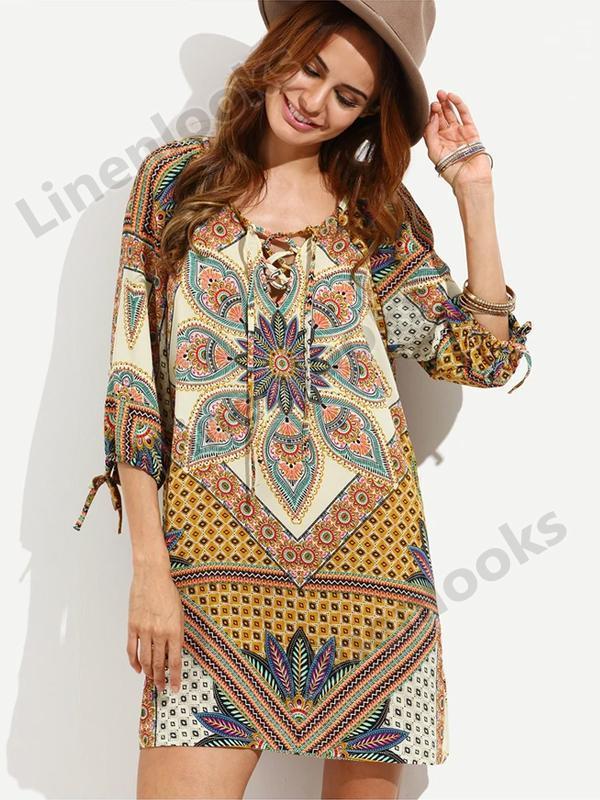 Bohemian Tribal Print Floral Short Flower Multicolor O Neck Midi Dresses