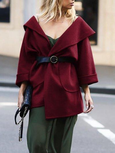 Solid Pockets Long Sleeve Shawl Collar Coats
