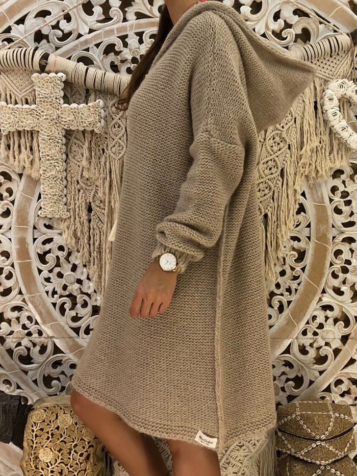 Long Sleeve Hoodie Knitted Acrylic Casual Sweaters