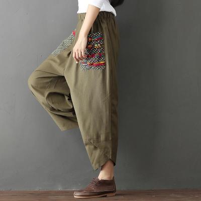 Wide Leg Harem Pants Trousers Women Ethnic Vintage Elastic Waist Loose Long Cotton Linen Pants