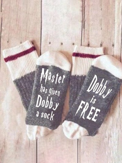 Mens Womens Master has given Dobby a Socks  Cotton Letter Socks