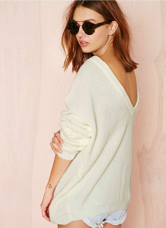 Sweater Fashion Sexy Deep V Backless Loose Neck Strapless Long Sleeve Pullover Sweater knit sweater women  pullover full