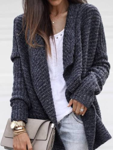 Women Deep Grey Knitted Solid Long Sleeve Coat