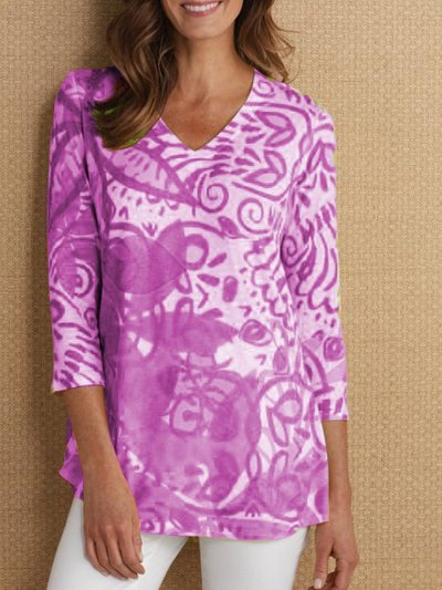 3/4 Sleeve Printed Casual V Neck T-Shirts