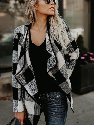 Autumn & Winter New Plaid Loose Turn-down Collar Long Sleeve Woolen Coat Outwear