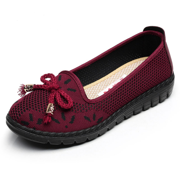 Solid Color Soft Flat Heel Canvas Mesh Casual Loafers