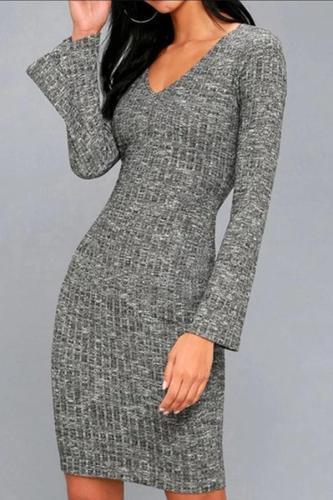 Sexy V Neck Pure Colour Long Sleeve Bodycon Dresses