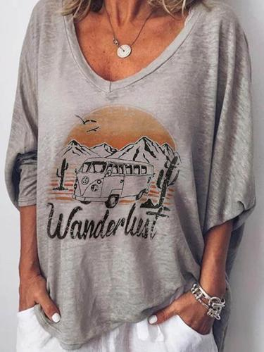 Plus Size Women Half Sleeves V Neck Graphic Loose Casual Tops
