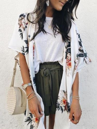 Fashion Casual Short-Sleeved   Printed Long-Sleeve Cardigan Top