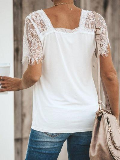 Casual V-Neck Short Sleeve Solid Plus Size Tops