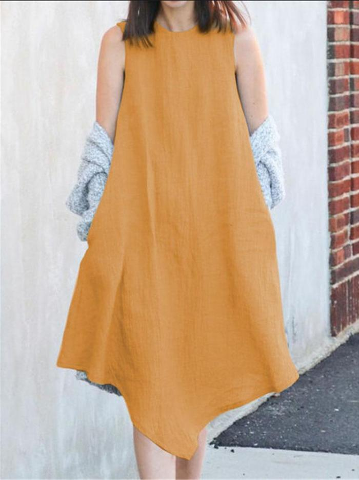Crew Neck Women Dresses A-Line Daily Casual Solid Dresses