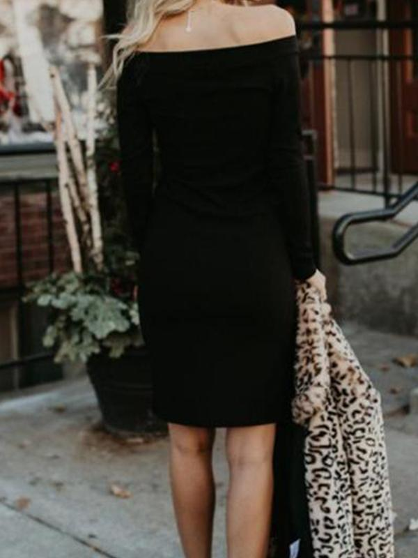 Off Shoulder  Single Breasted  Plain  Long Sleeve Bodycon Dresses
