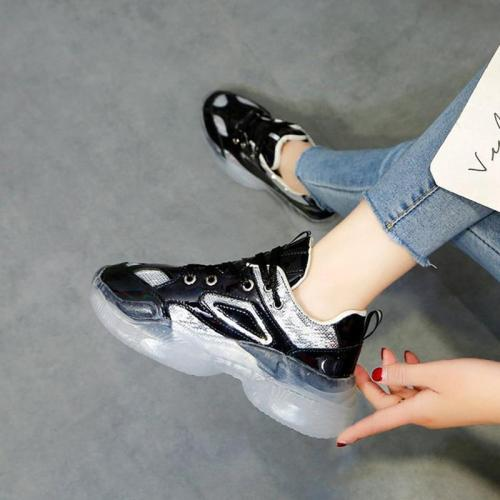 Women's European And American Fashion Sequins Color Matching Platform Sneakers