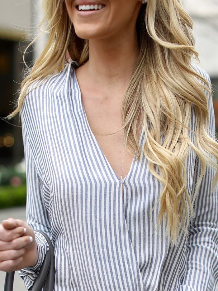 Blue Casual V Neck Striped Blouse