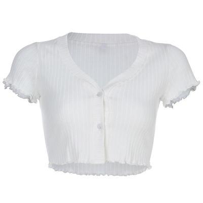 Women Casual Short Sleeve V-neck Button Tops T-Shirt Summer Sexy Crop Tops