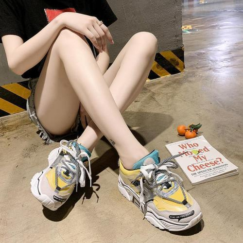 Fashion Wild Colorblock Lace-Up Casual Shoes