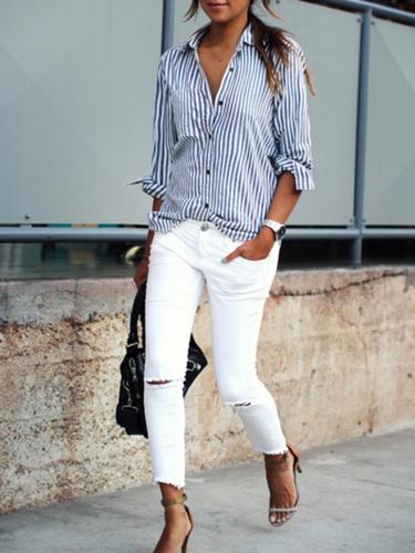 Shirt Collar Buttoned Long Sleeve Plus Size Shirt