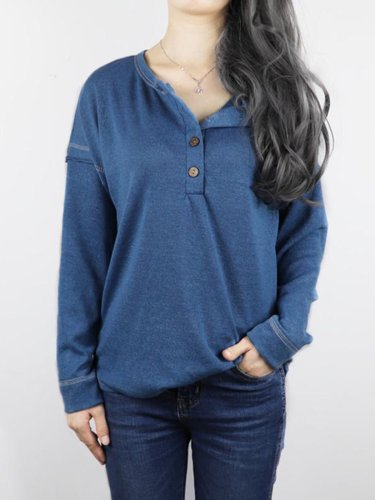 Fashion Round Neck With Button Plain Casual Blouse