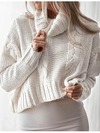 Winter Long Sleeve Solid Oversized Short Pullover