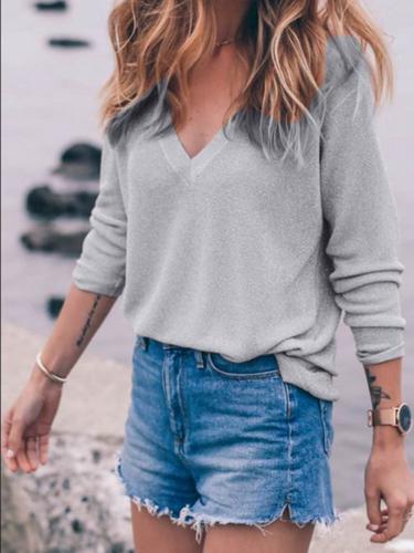 V Neck Basic Long Sleeve Solid Sweater