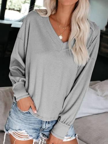 V Neck Casual Plain Cotton-Blend Shirts & Tops