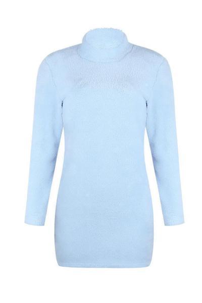 High Neck  Plain  Long Sleeve Bodycon Dresses