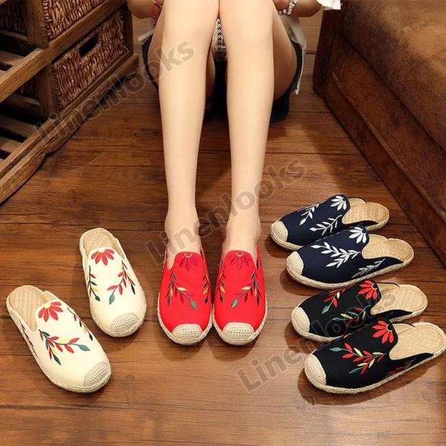 Women Shallow Mouth Flats Embroidered Leaves Comfortable Loafers Shoes