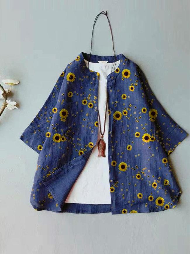 Blue Casual Floral Short Sleeve Shirts & Tops