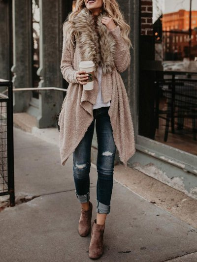 Paneled Elegant Solid Shawl Collar Quilted Coat