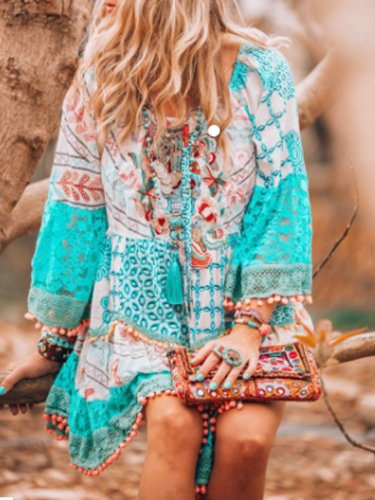 Light Blue Swing Patchwork Bell Sleeve Cotton-Blend Casual Dresses