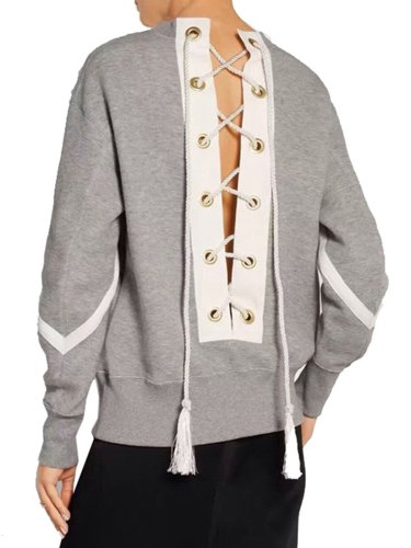 Convertible Wear Lace-up Back Casual Sweatshirt