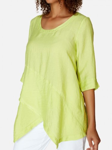 Linen Loose half-Sleeved Top