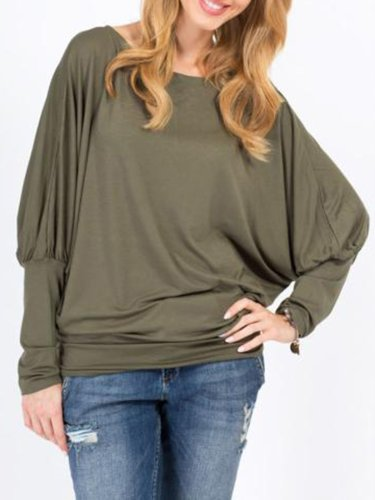 Casual Crew Neck Solid Blouses & Shirt