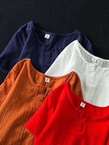 Short Sleeve Asymmetrical Solid Shirts & Tops