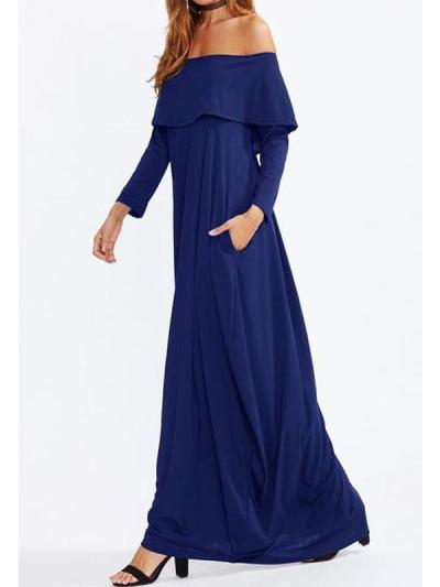 Off Shoulder Flounce Plain Maxi Plus Size Dress