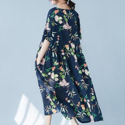 Summer Floral Printed Loose Linen Cotton Midi Dress