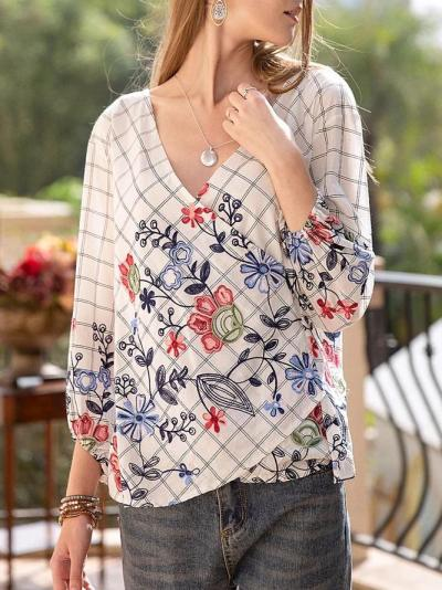 Women Linen Raglan Sleeve Vintage Gathered V Neck Floral Shirts & Tops With Belt