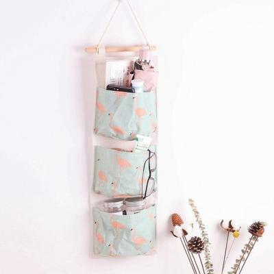 3 Pockets Wall Hanging Bag Linen Closet Organizer