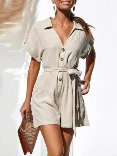 Commuting V Neck Single-Breasted Short Sleeve Belted Jumpsuits