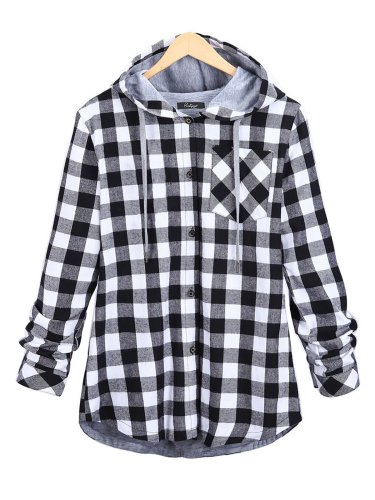 Gingham Checkered Buttoned Casual Open Hoodie Coat