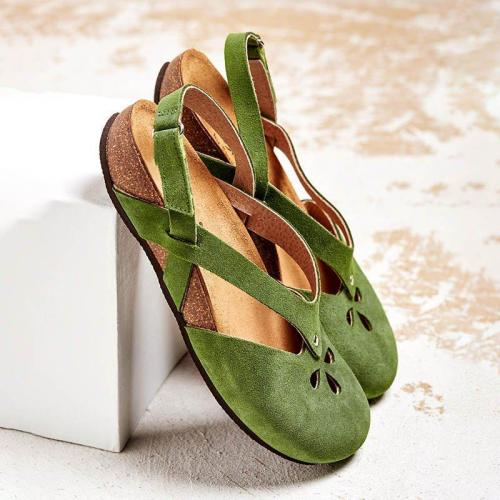 PU Magic Tape Wide Fit Flat Sandals