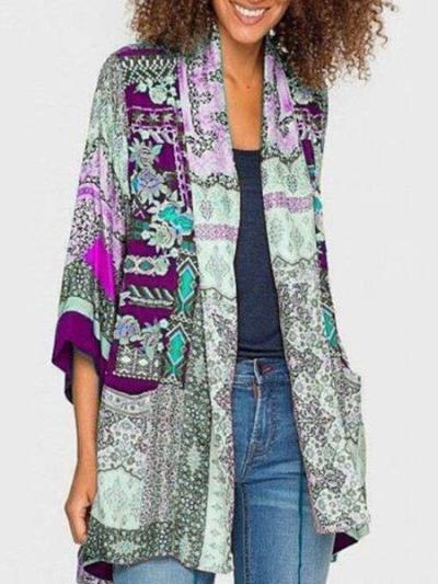 Plus Size Long Sleeve Statement Printed Outerwear